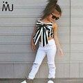 2017 Hot Girls Set Tops e Calças de 2 Peças de Verão listras Fita Curto Sling Buraco Moda Calças Estilo Europeu para Crianças ternos