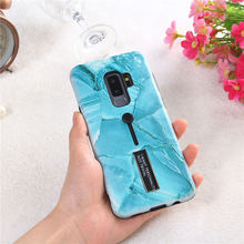 For Samsung Galaxy Note 9 S9 Plus Case Fashion Marble Soft Silicone Ring TPU+PC Back Cover A8 2018 Hide Stand Holder