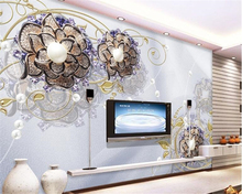 beibehang papel de parede European fashion interior decoration wallpaper luxury jewelry flowers TV background
