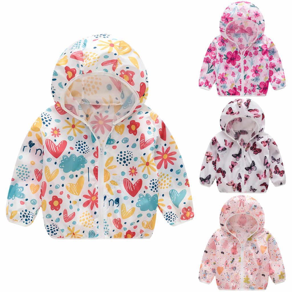 Hot Koop 2019 Baby Meisje kleding lange mouw Peuter Kids Zomer Zonnebrandcrème Jassen Printing Hooded Bovenkleding Rits Jassen
