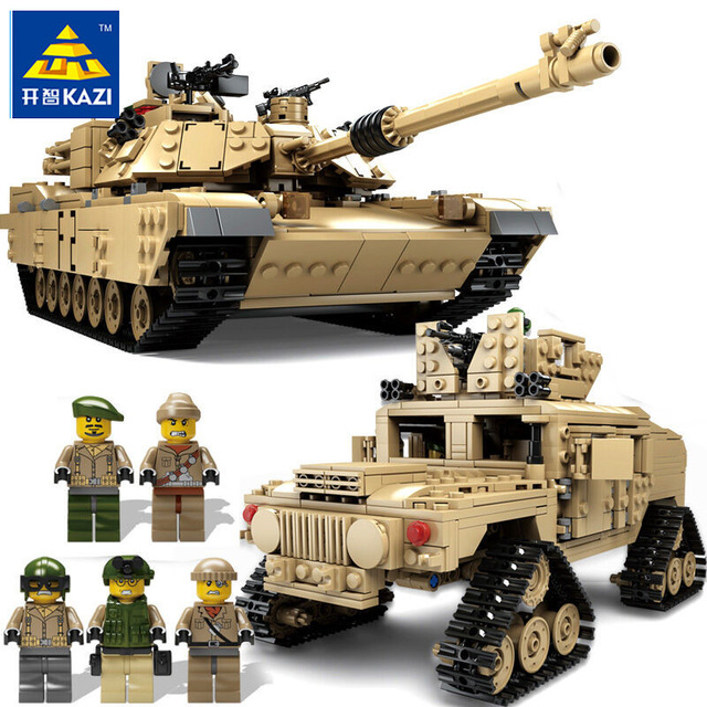KAZI 10000 The Military tank Armored vehicles Set Model Building Blocks Bricks compatible legoingly Children Toys Christmas Gift