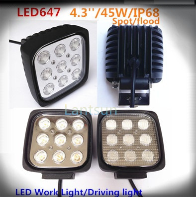 2 pieces 4.7inch 45w square led light for car cree chips one year warranty spot flood beam for option guano apes de