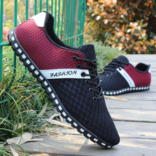 Men Casual Shoes Spring Air Mesh Fabric Cloth Patchwork Mens Loafers Leisure Can