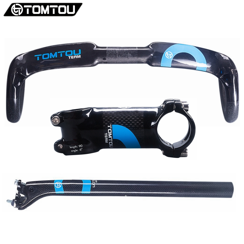 TOMTOU Carbon Fiber Cycling Road Bike Handlebar Sets Bent Bar + Stem + Seatpost 20mm Offset Racing Bicycle Parts Blue - TC8T17 cycling grips bicycle bar end handlebar pair blue