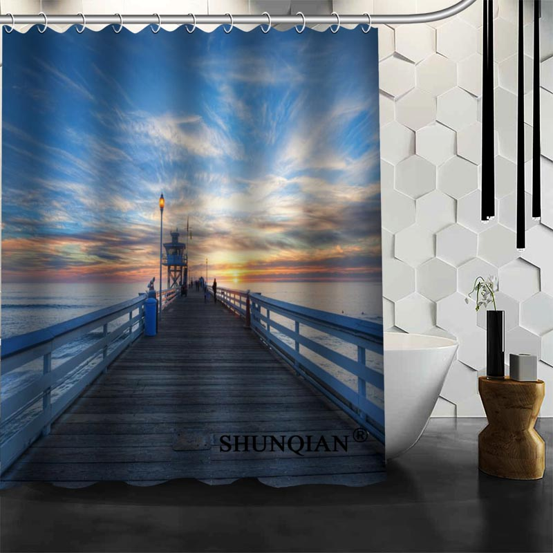 Waterproof Bathroom Curtains Modern Jetty Landing Stage Sea Fog Shower  Curtain Polyester Bath Screens Customized Curtain Part 61