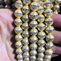 Natural Shell Pearls Beads With Water Crystal,9MM Round Gem Stone Loose Beads CZ Zircon Crystal Inlay,1str 39 beads