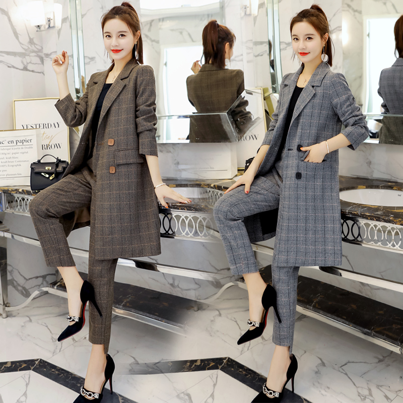Autumn Women's Casual Suit Nine Pants Suit 2019 New Fashion Long Paragraph Large Size Lattice Two-piece Women's Clothing Spring