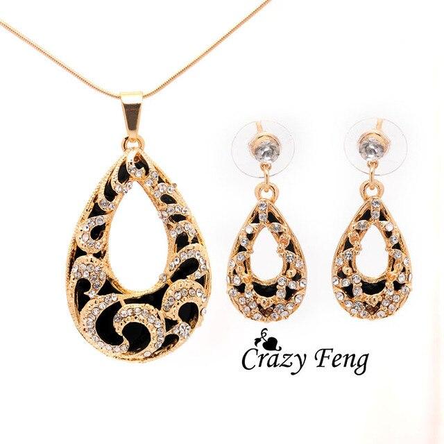 Crazy Feng Women's 2 Colors Austrian Crystal Water Drop Pendant Chain Necklace +