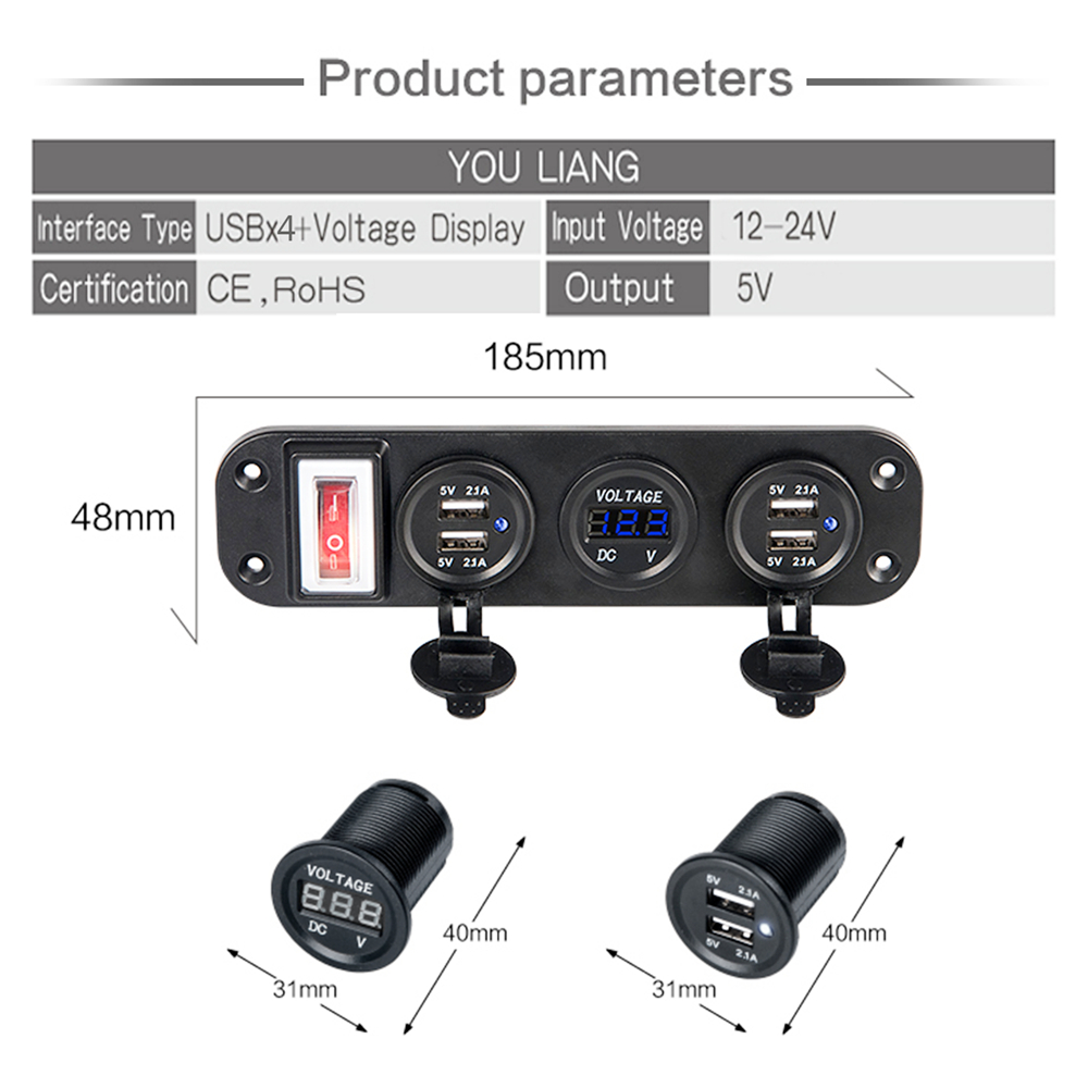 New Dual USB Socket Charger 5V 2 1A LED Voltmete ON OFF Toggle Switch 4 in 1 for Boat Car Marine Truck Camper Vehicles in Cigarette Lighter from Automobiles Motorcycles