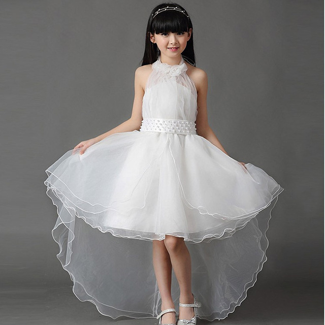Children S Clothing Dress 2018 Korean Princess White Lace Long Tail Wedding Kids Dresses For