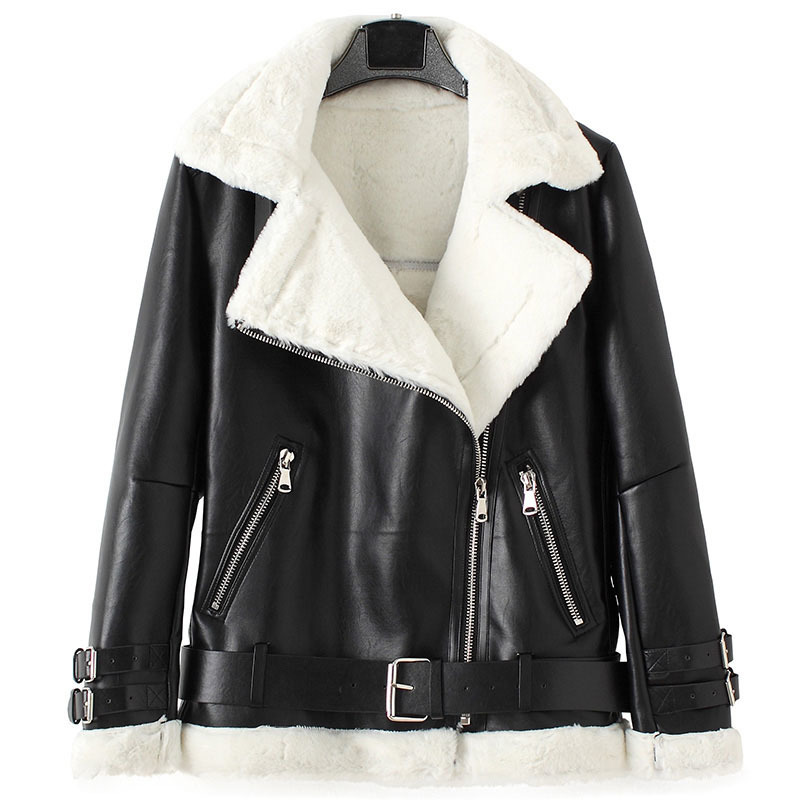 Winter Thick Fur   Leather   Jacket Women Bomber Coat Motorcycle Lambs Wool Coats Biker Outerwear New Chaqueta Piel Mujer Warm 1639