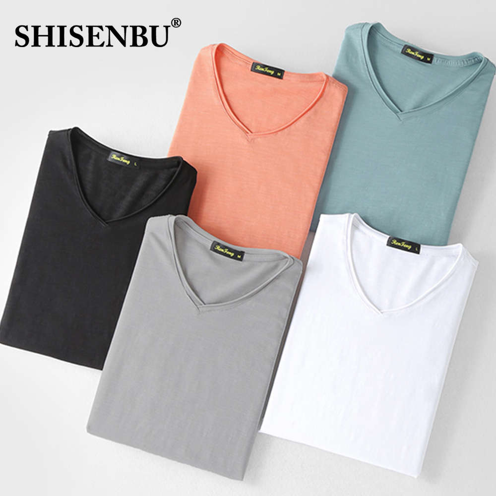 Bamboo Slub Cotton Men's Sweat Proof Undershirt V Neck 2019 Summer Slim Fit Underwear Short Sleeve Brand Undershirts Gym M-3XL