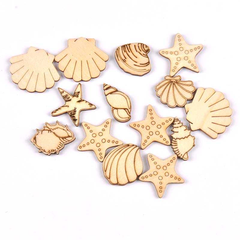 20pcs 25-35mm Seashell/starfish Pattern Natural Wood DIY Crafts Home Decor Scrapbooking Unfinished Wooden Ornaments M1935