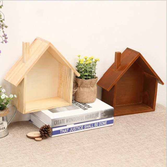 Online Shop Creative Retro Wooden House Wall Shelves Holder Living