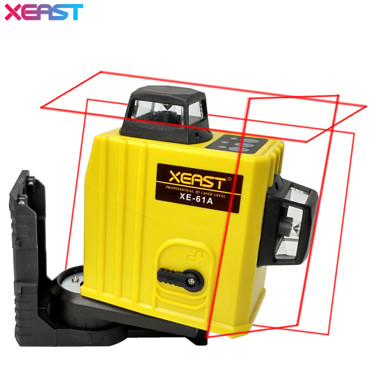 XEAST XE-61A 12 линия лазерный уровень 360 Самовыравнивающийся Крест линия 3D лазерный уровень красный луч с литиевая батарея!