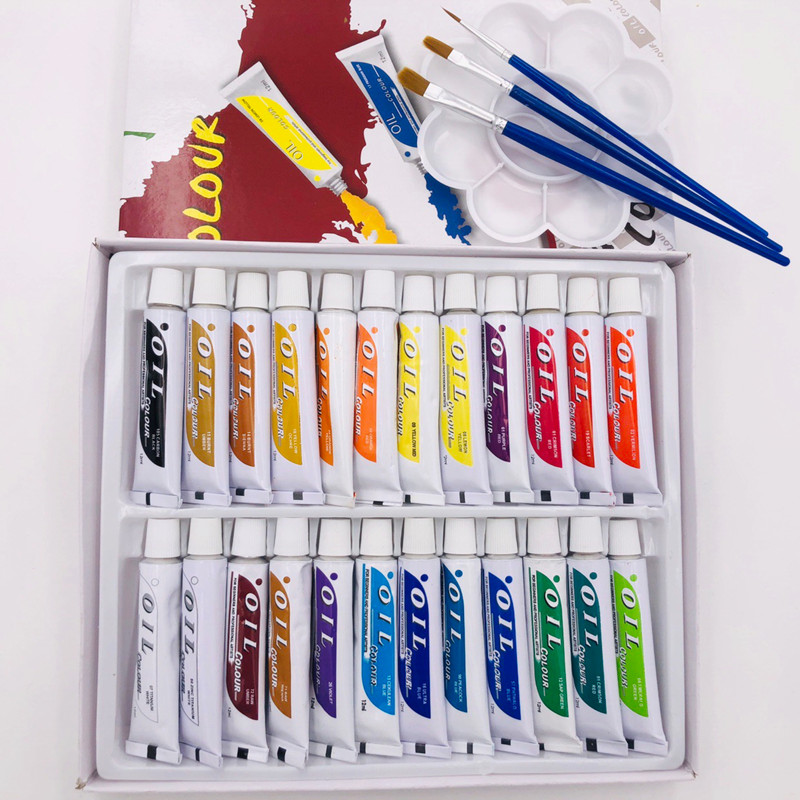 24pcs 12ML Professional Tube Oil Paints Art For Artists Canvas Pigment Art  Supplies Drawing Free For Brush And Paint Tray