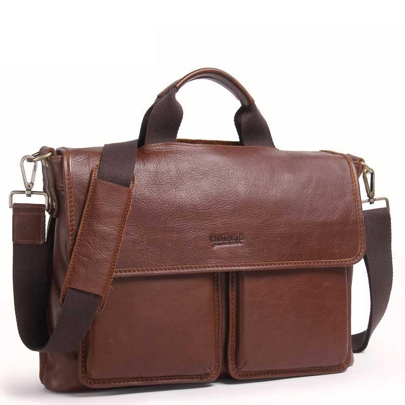 Luxury Quality Real Leather Fashion Shoulder Bag Leather Laptop Bag Leather Men's Business Briefcase Leisure Shoulder Messenger