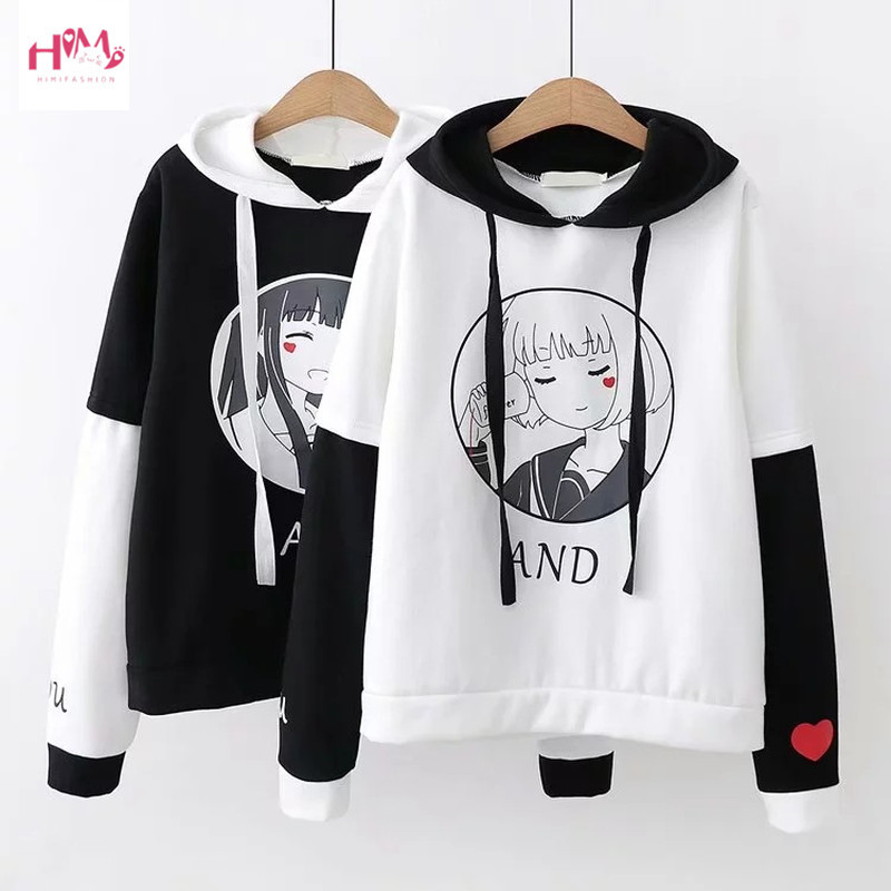 Harajuku Kawaii Women Hoodie Autumn Lolita Anime Letter Graphic Sweatshirts Pullover Korean Cute Mori Girls Outerwear Clothes