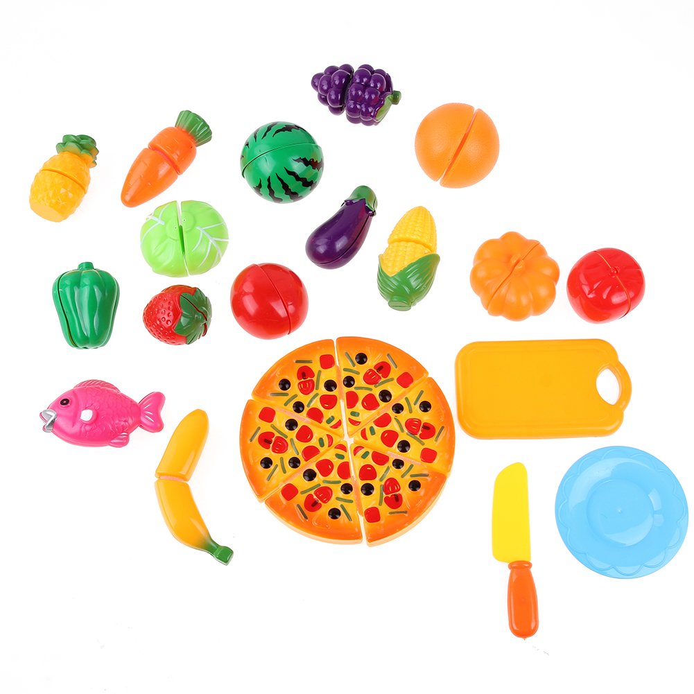 24Pcs/Set Baby Cutting Food Game Toy Simulation Plastic Vegetables Fruit Fun Kids Kitchen Pretend Play DIY Cut Fruit Toy