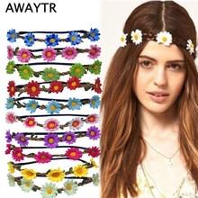 Scrunchy garland festival daisy wreath headbands boho bands elastic flower accessories