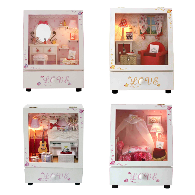 DIY Wooden Dollhouse With LED Assemble Simulation Model Music Box Miniature Furniture Doll House