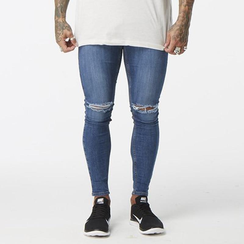 Biru Denim Lutut Ripped Jeans Man Super Kurus Slim Fit Celana Tertekan Hip Hop Pengiriman Menjatuhkan Pemasok Usa Pasar Inggris Zm06 Super Skinny Jeans Menripped Jeans Men Aliexpress