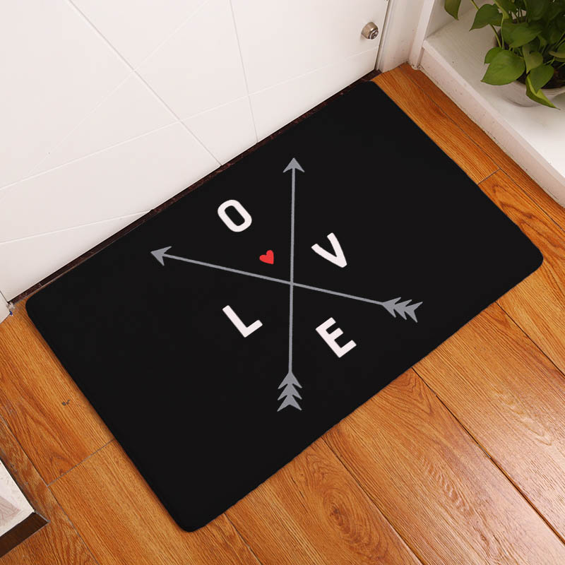 huge discount 50699 4d62b Love Letter Printing Carpets Love Heart Arrow Pattern Mat for Living Room  Anti-Slip Flannel Tapete Fashion Household Items