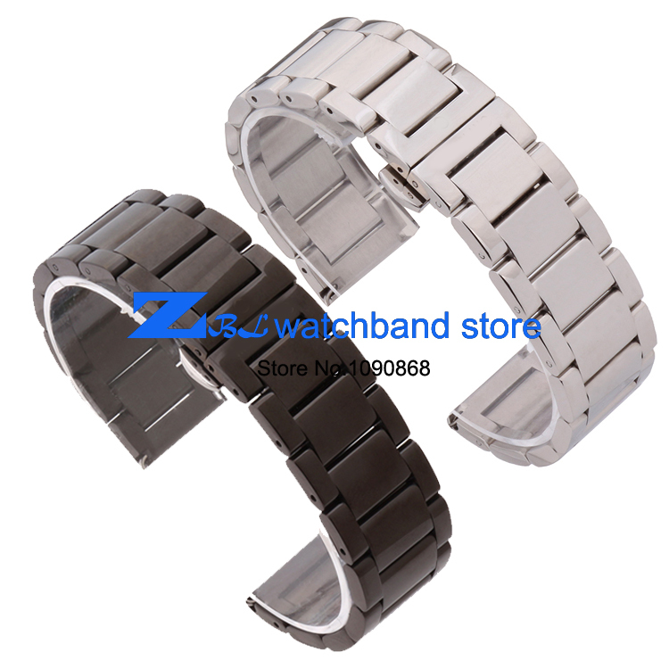 Free Shipping Stainless steel Watchband solid metal watch strap butterfly buckle silver black width 18mm 20mm 21mm 22mm belt free shipping wholesale black brown perlon strap braided watch strap 20mm watchband with buckle