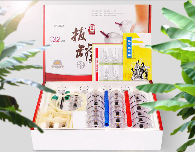 32 Cans  12 Cans   cups chinese vacuum cupping kit pull out vacuum apparatus therapy relax massagers curve suction pumps