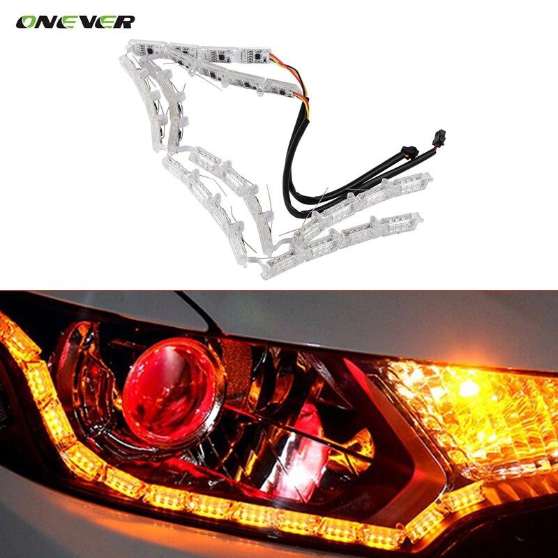 Prix pour Onever 2 pcs 50 cm-69 cm flexible voiture led blanc/ambre drl qui coule tournez singal lumière bande brouillard lampe lumières phare 12 v