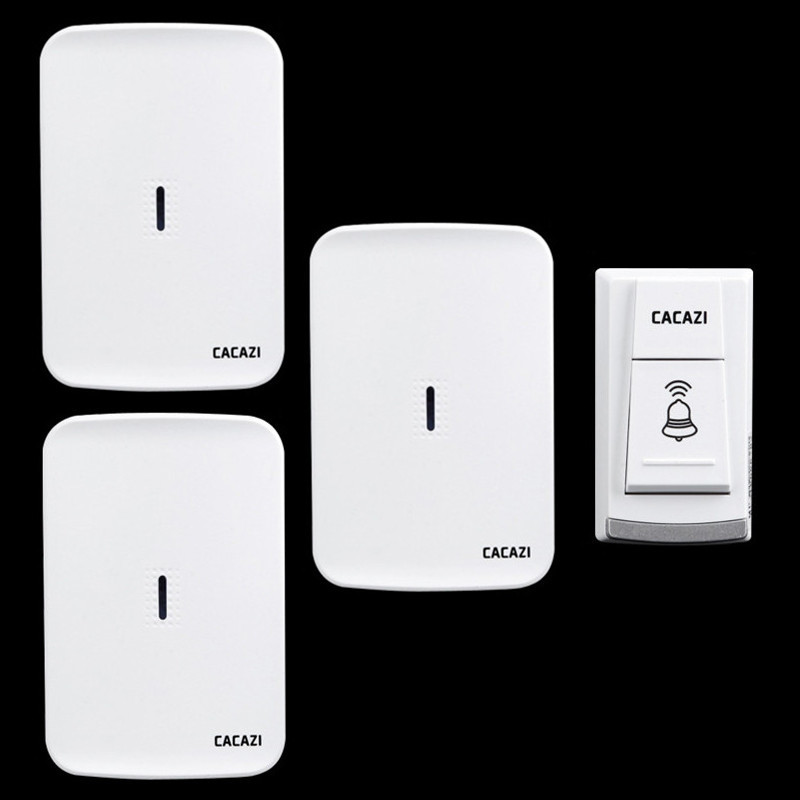 Wireless home electronic elderly DC battery pager move freely waterproof doorbell 1 transmitter+3 receivers wireless door bell new restaurant equipment wireless buzzer calling system 25pcs table bell with 4 waiter pager receiver