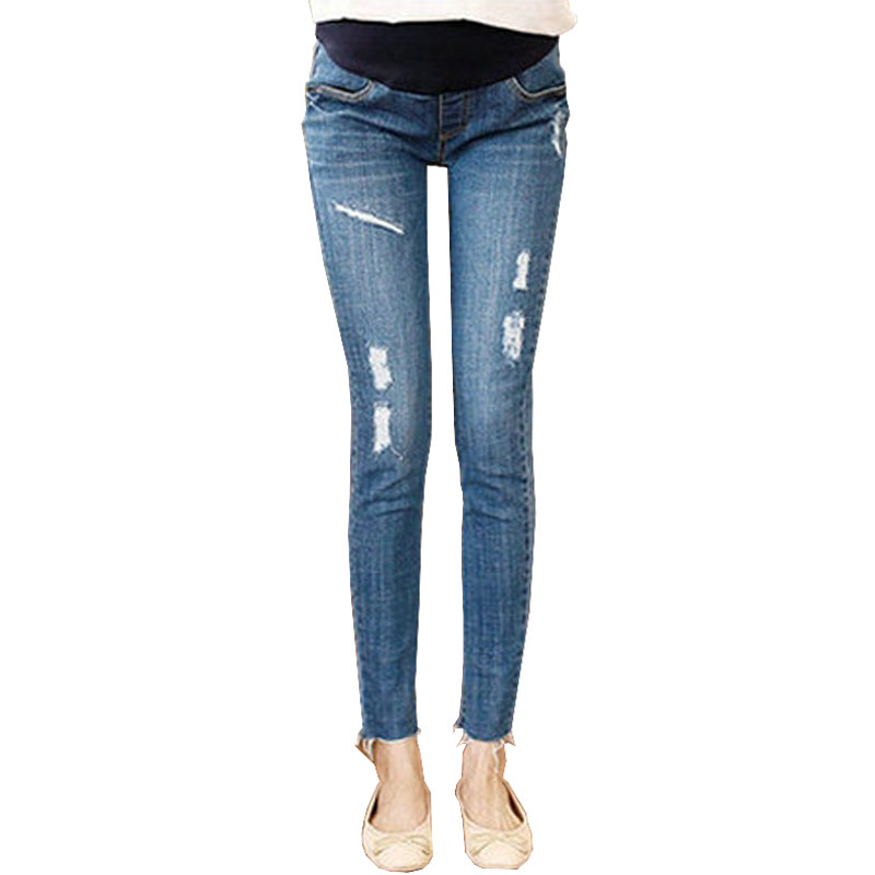 Skinny Pants Maternity Jeans For Pregnant Women Clothes Denim Jeans Pregnancy Trousers Prop Belly Elastic Capri Abdominal Pants