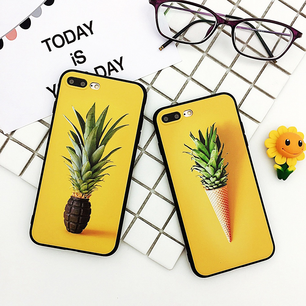 XBXCase Icecream 3D Pineapple Patterned Case For iPhone 6 6S Plus 8 Cute Cartoon Black TPU Silicone Back Cover for iPhone 7 Case