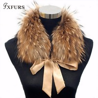 FXFURS 2019 Fashion Fur Scarf Real Raccoon Dog Fur Collars with Ribbon Real Fur Stole for Wool Coats 48CM