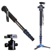 Manbily A 222 165cm taşınabilir profesyonel DSLR Monopod baston ile M 1 Mini Tripod standı tabanı ve Tripod Ballhead DSLR için