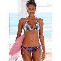 Sporlike 2018 Sexy Bikinis Women Swimsuit Swimwear Halter Top Plaid Brazillian Bikini Set Bathing Suit Summer