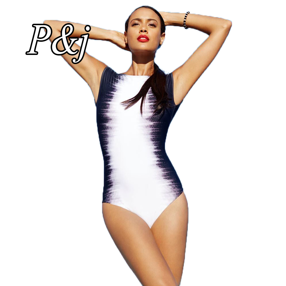 P&j 2017 Sexy halter Striped women swimwear high cut out one piece swimsuit Black and white printing women bathing suits накопитель на жестком магнитном диске seagate жесткий диск hdd seagate ironwolf pro st8000ne0004 8tb 3 5 sata 6gb s 256mb 7200rpm