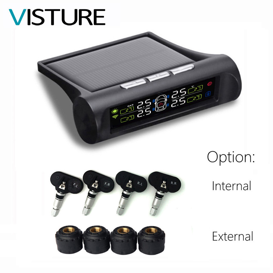 Solar TPMS Car Tire Pressure Alarm Monitor System Display 4 Internal / External Sensor Temperature Warning T06N T01W Visture