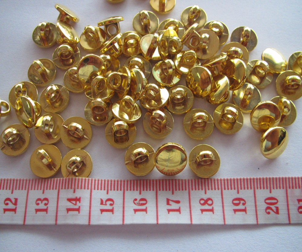 Free shipping 10mm plating gold color shirt button fashion plastic shank blouse button 100pcs