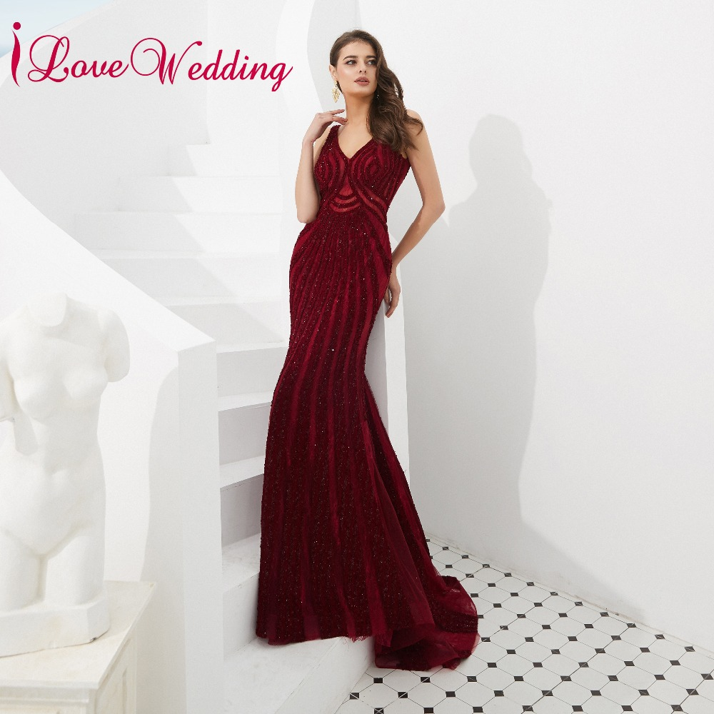 iLoveWedding 2019 Charming V Neck Crystals Open Back Mermaid Prom Long Elegant Dresses Real Sample