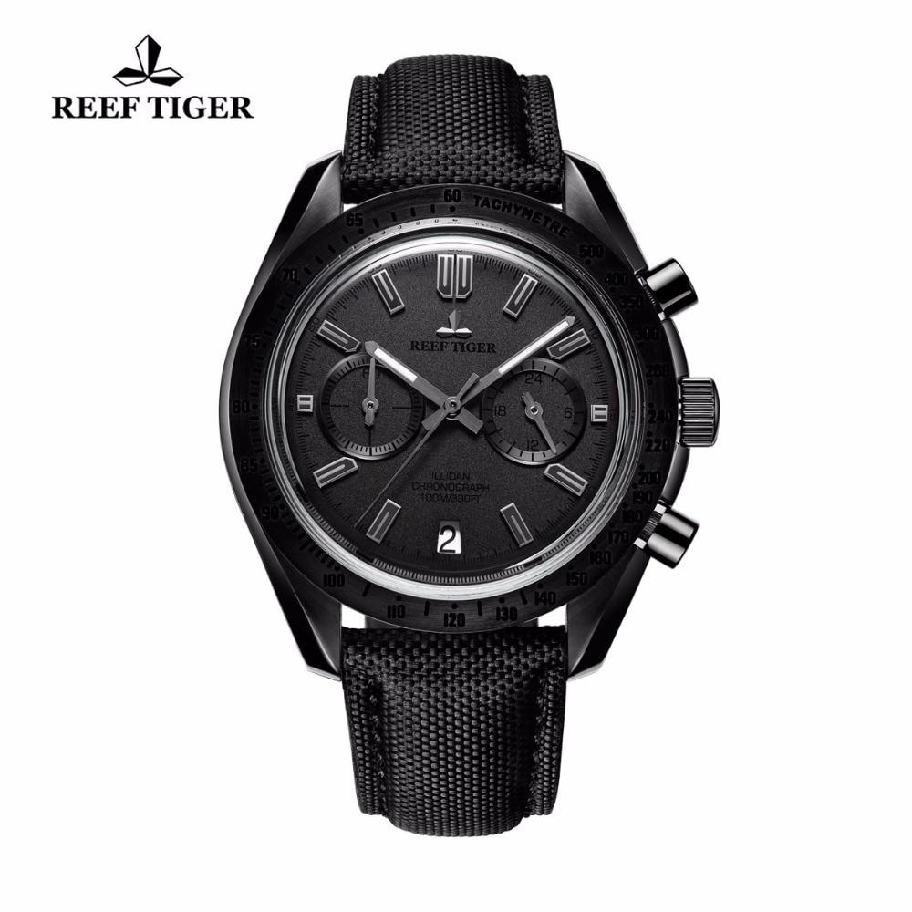 Reef Tiger/RT Designer Sport Watches Mens Calfskin Nylon Strap Luminous Quartz Watches with Chronograph RGA3033 2017 reef tiger rt mens designer chronograph watch with date calfskin nylon strap luminous sport watch rga3033