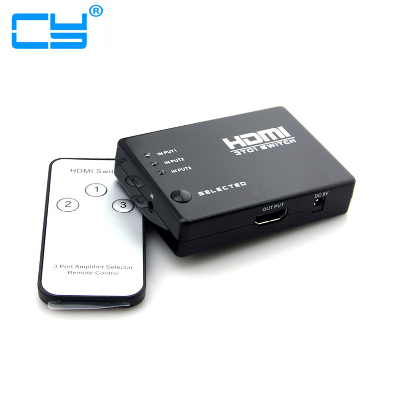 3 In 1 Out HDMI Splitter, 3 Port Hub Box Auto Switch connector HDMI Switcher Selector With Remote Control for HDTV support 1080p