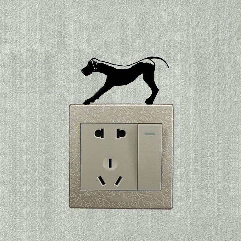 Etiquetas engomadas del interruptor de la pared etiquetas engomadas del interruptor de la luz del perro del gato Etiquetas engomadas animales divertidas 12 PCS