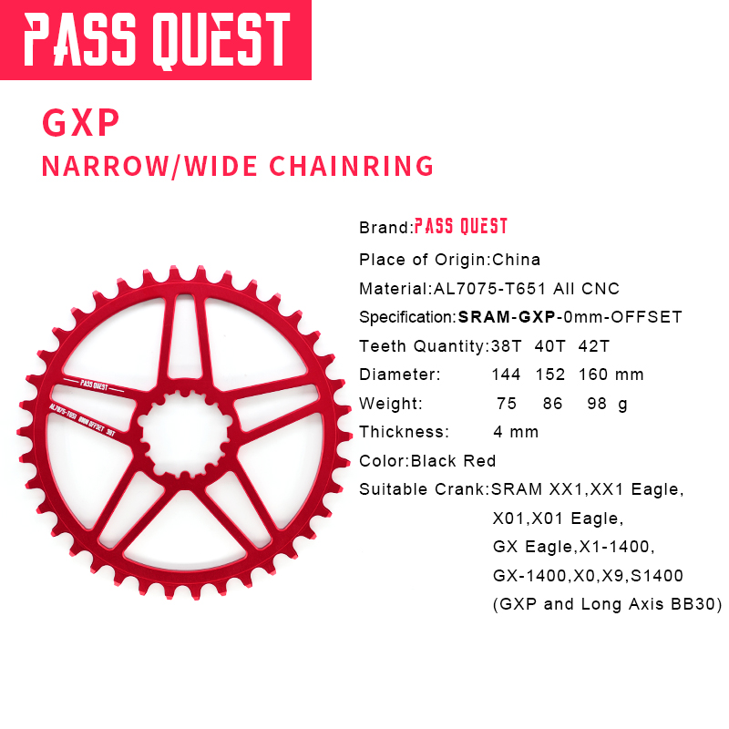 PASS QUEST SRAM gx xx1 eagle GXP MTB Narrow Wide Chainring 38T 40T 42T Bike Bicycle Chainwheel Chain Wheel 0mm Offset Crankset in Bicycle Crank Chainwheel from Sports Entertainment