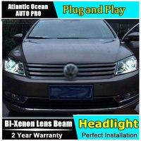 Car Styling Head Lamp for VW Passat B7 led headlights Volks Wagen Passat B7 Headlight LED drl HID KIT Bi Xenon Lens low beam