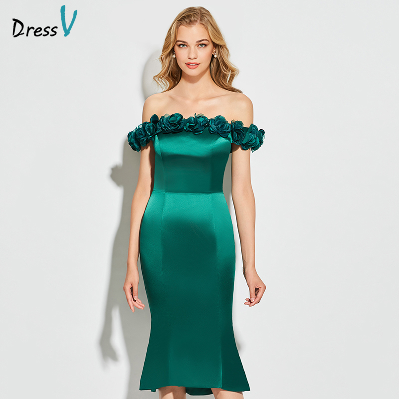 Dressv   cocktail     dress   sheath elegant off the shoulder applqiues knee zipper up wedding party formal   dress     cocktail     dresses