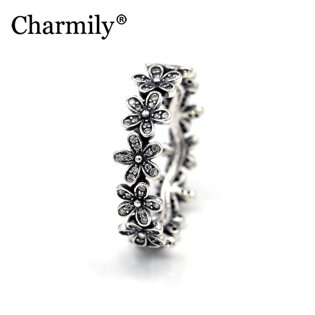 76a811d87 925 Sterling Silver Dazzling Daisy Meadow with Clear CZ Ring For Women  Flower Rings