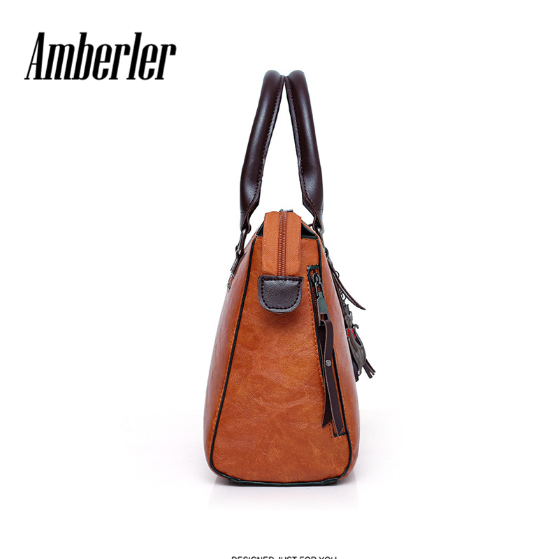 9a0bde0655962 Amberler Women Handbags PU Leather Shoulder Bags Female Large Capacity  Casual 4 Pieces Set Tote Bag Tassel Purses And Handbags-in Shoulder Bags  from Luggage ...
