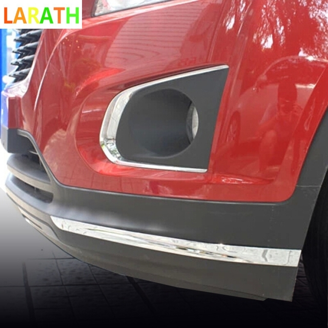 For Chevrolet Trax 2014 2015 ABS Chrome Car Bottom Front+Rear Corner Bumper Protector Adornment Strips Exterior Auto Parts