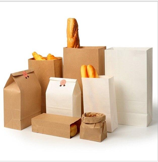50 pcs 100 pcs Brown Kraft saco De Papel de Presente Sacos de embalagem Sacos de Biscoitos doces Alimentos jangada Bolinho pão Pão de Nozes Lanche pacote de fermento